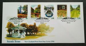 1996-New-Zealand-Scenic-Gardens-Parks-5v-Stamps-FDC