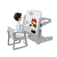 EasY FoxY ToY Easel-for-Kids Wooden-Toddler-Art-White-Board for Children with Paper Roll All-in-One Wooden Kids Art Easel with Paper Roll and Accessories