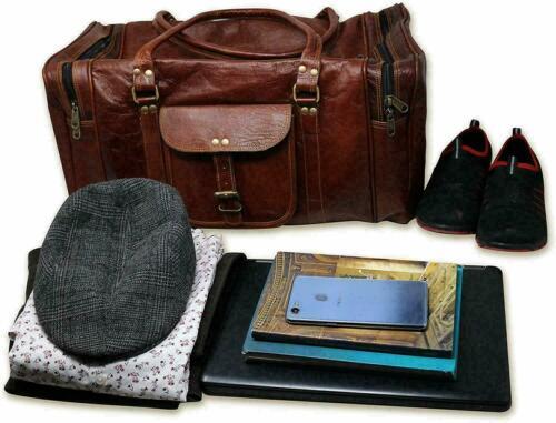 Goat Leather Travel Men Gym Bag Luggage Genuine Brown Duffel Vintage New Duffle