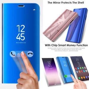 Pour-Huawei-P20-Pro-Lite-P-Smart-Clear-View-Miroir-Slim-Flip-Stand-Case-Cover-Lot