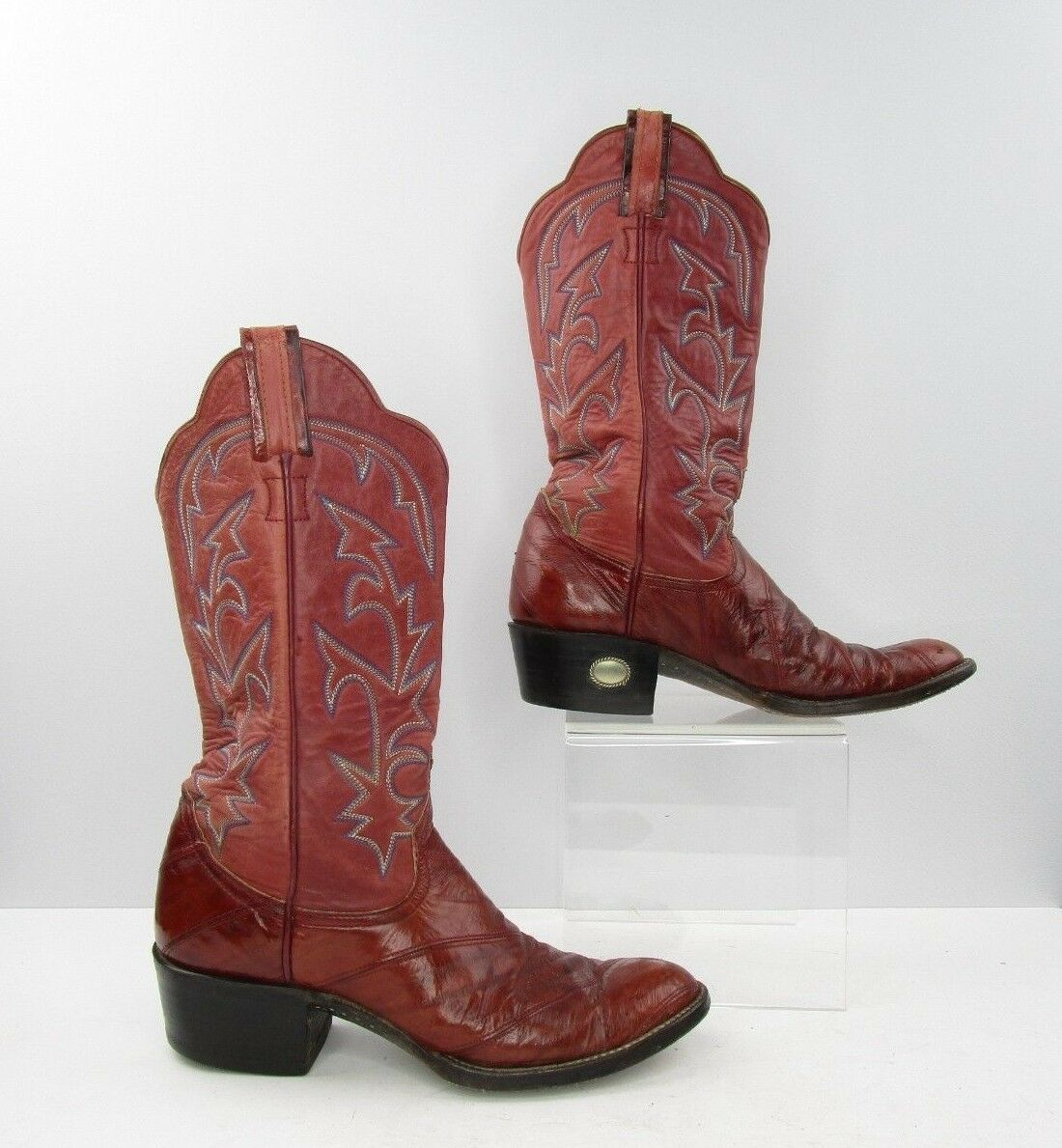 Men's Larry Mahan Burgundy Leather Cowboy Western Boots Size  7.5 D