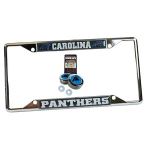 Carolina Panthers License Plate with Screw Caps Set Aluminum Black Front Car License Plate Cover Carolina Panthers Metal License Plate Tag Fit for Toyota BMW Buick Cadillac Ford Honda etc.