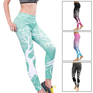 Femme Legging Pantalon Branche Arbre Fitness Course Extensible Sport ... df973f02791