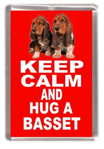 "Basset Hound Dog Fridge Magnet /""KEEP CALM AND HUG A BASSET/"" by Starprint"