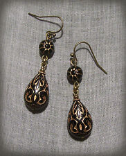 BRASS BLACK GOLD CARVED LOOK SCROLL LUCITE TEAR DROP EARRINGS EDWARDIAN DECO