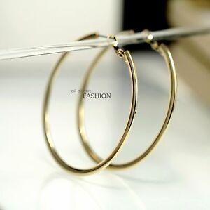 Ring In Kaars.Rings Ears Golden Big Creole Ring Circle Bright Flat Simple Class M2