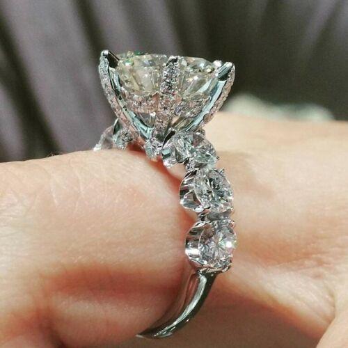 5 Carat Round Diamond Wedding Engagement Ring 14k White Gold Finish