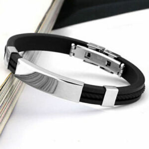 Men-039-s-Women-039-s-New-Stainless-Steel-Rubber-Wristband-Bangle-Clasp-Cuff-Bracelet