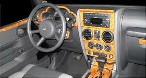 jeep wrangler unlimited interior wood dash trim kit set 2007 07 2008 2009 2010 ebay. Black Bedroom Furniture Sets. Home Design Ideas