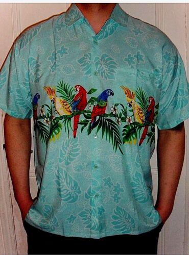 Mens Mint Green Valentine Mexican Cancun Wedding Parrot band Hawaiian Shirt M