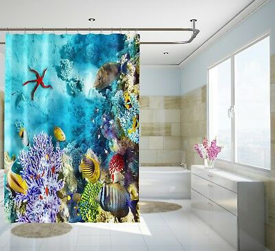 Fashion Style 3d Starfish Corals 7 Shower Curtain Waterproof Fiber Bathroom Windows Toilet To Enjoy High Reputation At Home And Abroad Bath Home & Garden