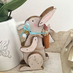 Image Is Loading Vintage Style Grey Wooden Hare Rabbit Bunny Shabby