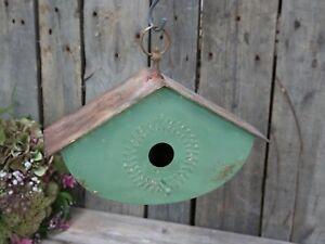 Chic-Antique-Vogelhaus-Deko-zum-Haengen-gruen-Shabby-Vintage-Garten-Balkon