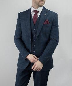 Mens-Wool-Mix-3-Piece-Tweed-Suit-Cavani-CARNEGI-Checked-Peaky-Blinders-Party-New