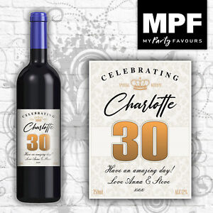 Personalised Birthday Wine Bottle Label - 18th, 21st, 30th, 40th (gold flock)