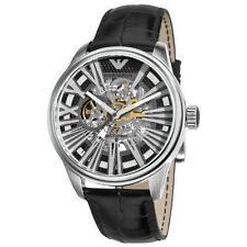 New Emporio Armani Men's Watch AR4629 Meccanico Skeleton Dial Black Strap SALE