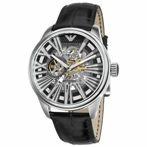 9983bc6d18379 New Emporio Armani Men's Watch AR4629 Meccanico Skeleton Dial Black ...