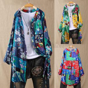 Mode-Femme-Casual-en-vrac-Manche-Longue-Imprime-floral-Bouton-Cardigans-Haut