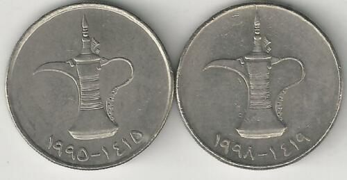 2 DIFFERENT 1 DIRHAM COINS from the UNITED ARAB EMIRATES DATING 1995 /& 1998