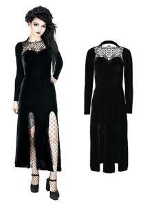 Nugoth Gothic Restyle Samt Witchy Widow Kleid Schlitz Dress Spitze Schnürung EaqqRWg
