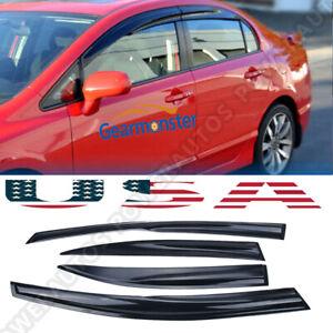 for Honda Civic 4Dr 2006-2011 Mugen Window Vent Visor Weather Shield Deflectors
