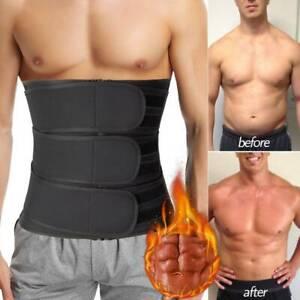 Mens Abdomen Fat Burner Body Shaper Waist Trainer Sauna Sweat Belt Weight Loss