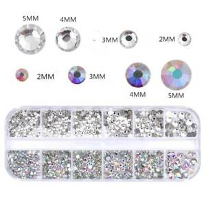 Clear-AB-Color-Nail-Art-Rhinestone-Flat-Bottom-Multi-size-Manicure-3D-Decor-Tool