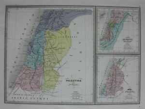 ROMAN-PALESTINE-KINGDOM-OF-ISRAEL-original-antique-map-Malte-Brun-Huot-c1882
