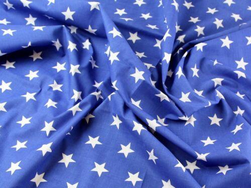 Tela Polycotton Vestido Estampado De Estrellas-Azul Real-se vende por metro