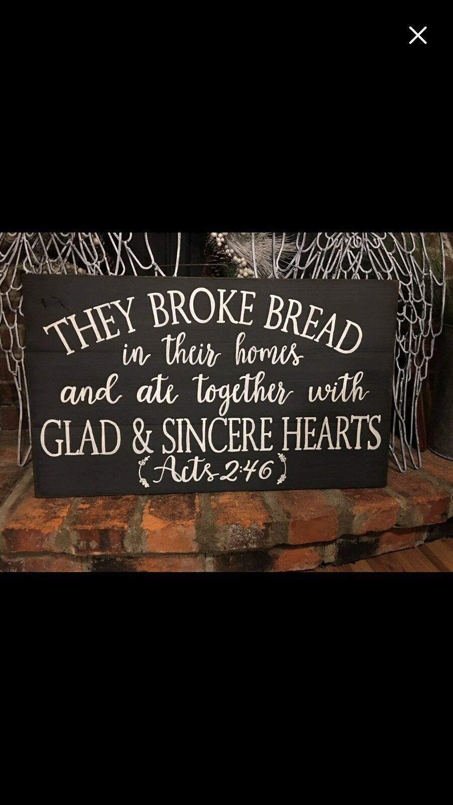 The broke bread, Acts 2 46, hand painted pallet wood barn wood