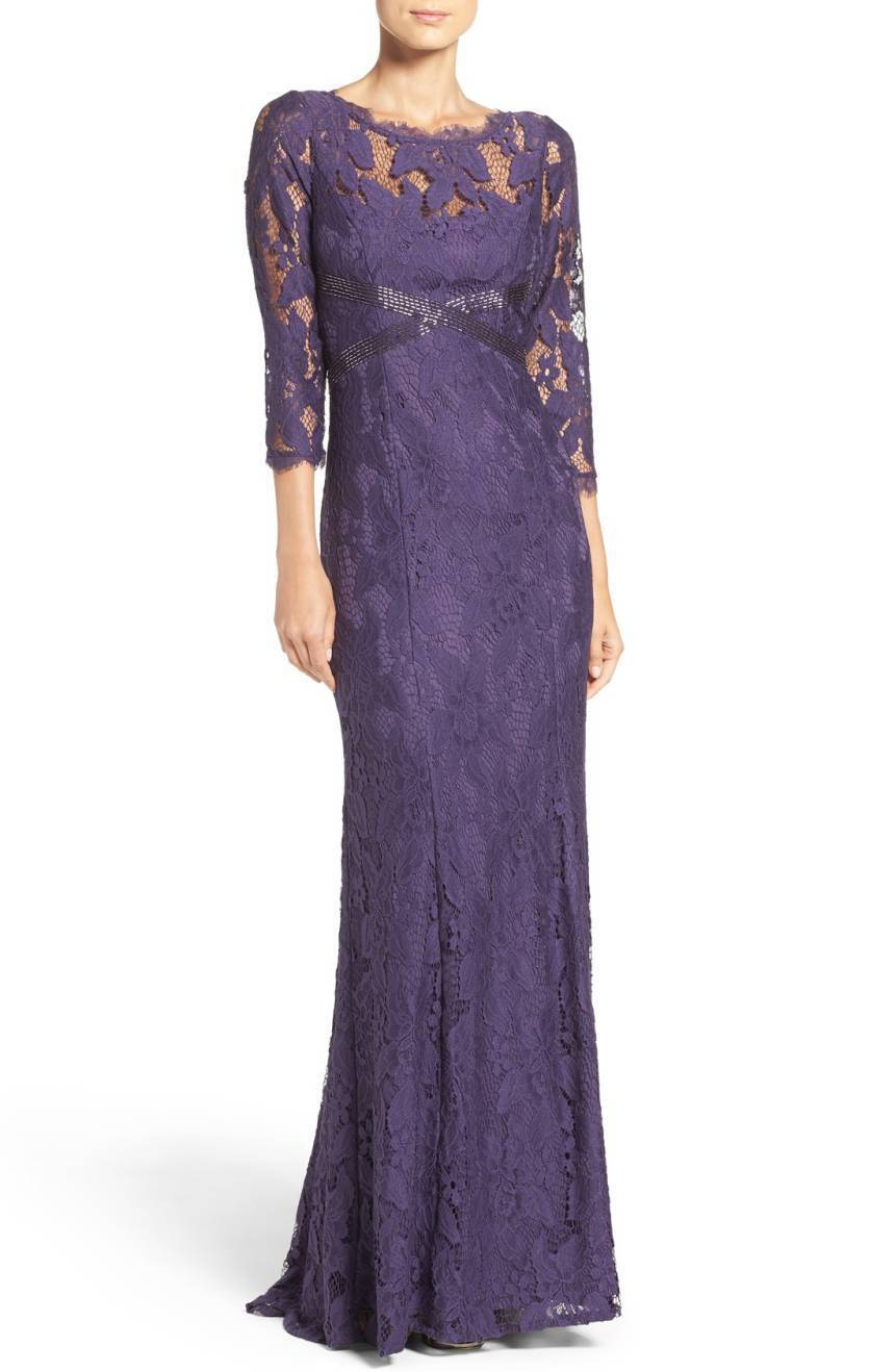 NEW ADRIANNA PAPELL Prune Sheer Illusion Lace Beaded 3 4 Sleeve Gown Dress 12 US