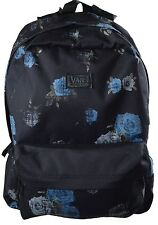 New Vans Women Deana II Rosette Black Blue Floral Print Backpack Book Bag