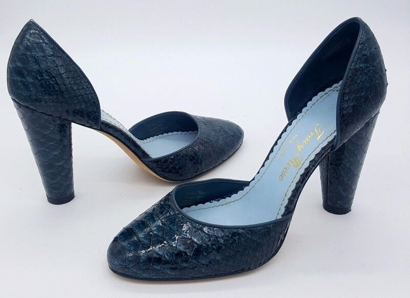 TRACY REESE Größe 36.5 6.5 Blau Snakeskin D'orsay Round Toe High High Toe Heel Schuhes add4af