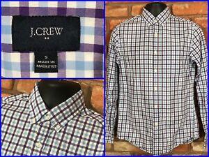 J-CREW-Blue-Purple-Check-L-S-Btn-Down-Recent-Dress-Shirt-For-Work-Mens-Sm-SLIM