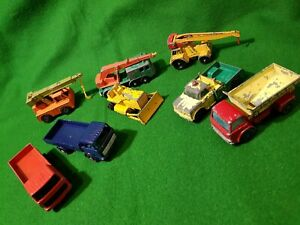 8-x-Matchbox-Lesney-transporter-lorry-Crane-truck-job-lot-vintage