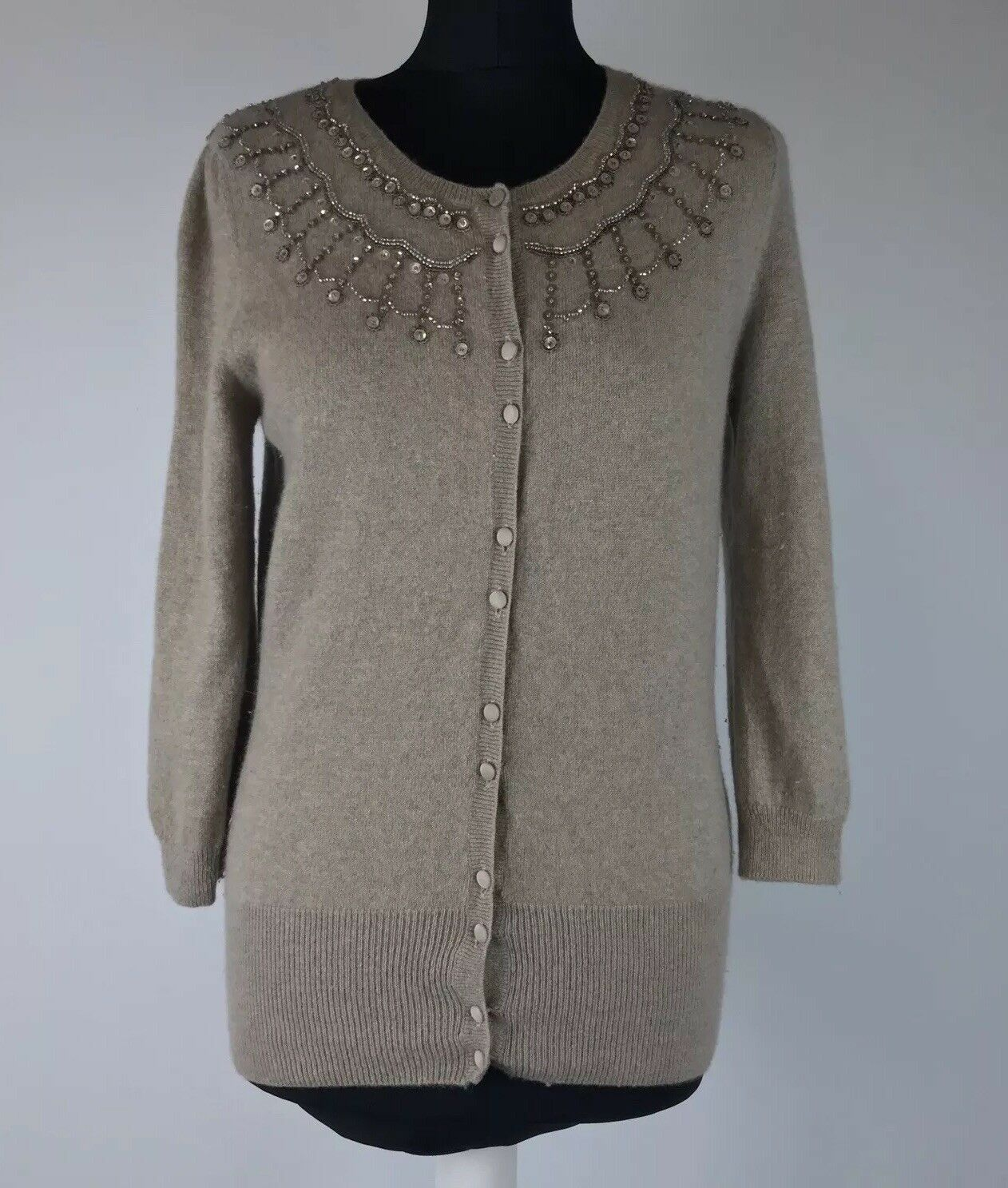 M&S Speziale  Size Beige Pure Cashmere Bead Embellished Soft Cardigan