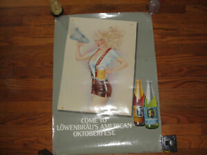 Details about Vintage 80s Oktoberfest Lowenbrau Munchen Poster Sign Beer  Man Cave Pin Up Girl