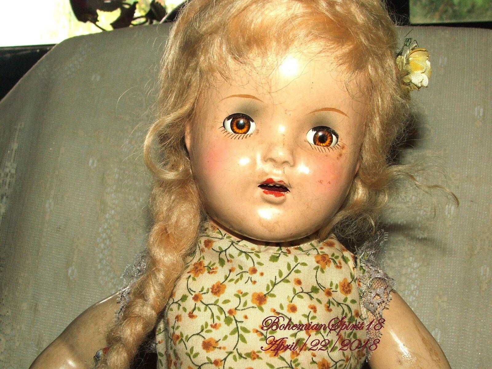 Antiguo adorable composición Mohair Cabello Rubio 18  Girl Doll