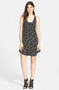 NWT-Joie-Arianna-Black-Silk-Arrow-Print-Sleeveless-Mini-Dress-L-298
