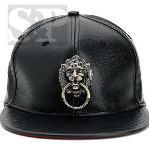 Fashion-Faux-Leather-Metal-Lion-Head-Unisex-Baseball-Snapback-Cap-Hip-Hop-hat