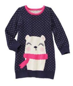 Gymboree Polar Pink Black//White//Pink Sweater Dress Size 4 5 6 NEW