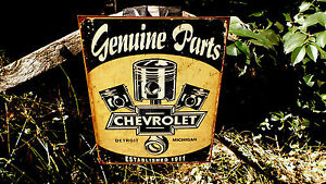 Chevrolet-Chevy-GM-Parts-Tin-Automotive-Garage-Wall-Decor-Advertising-Sign-Signs