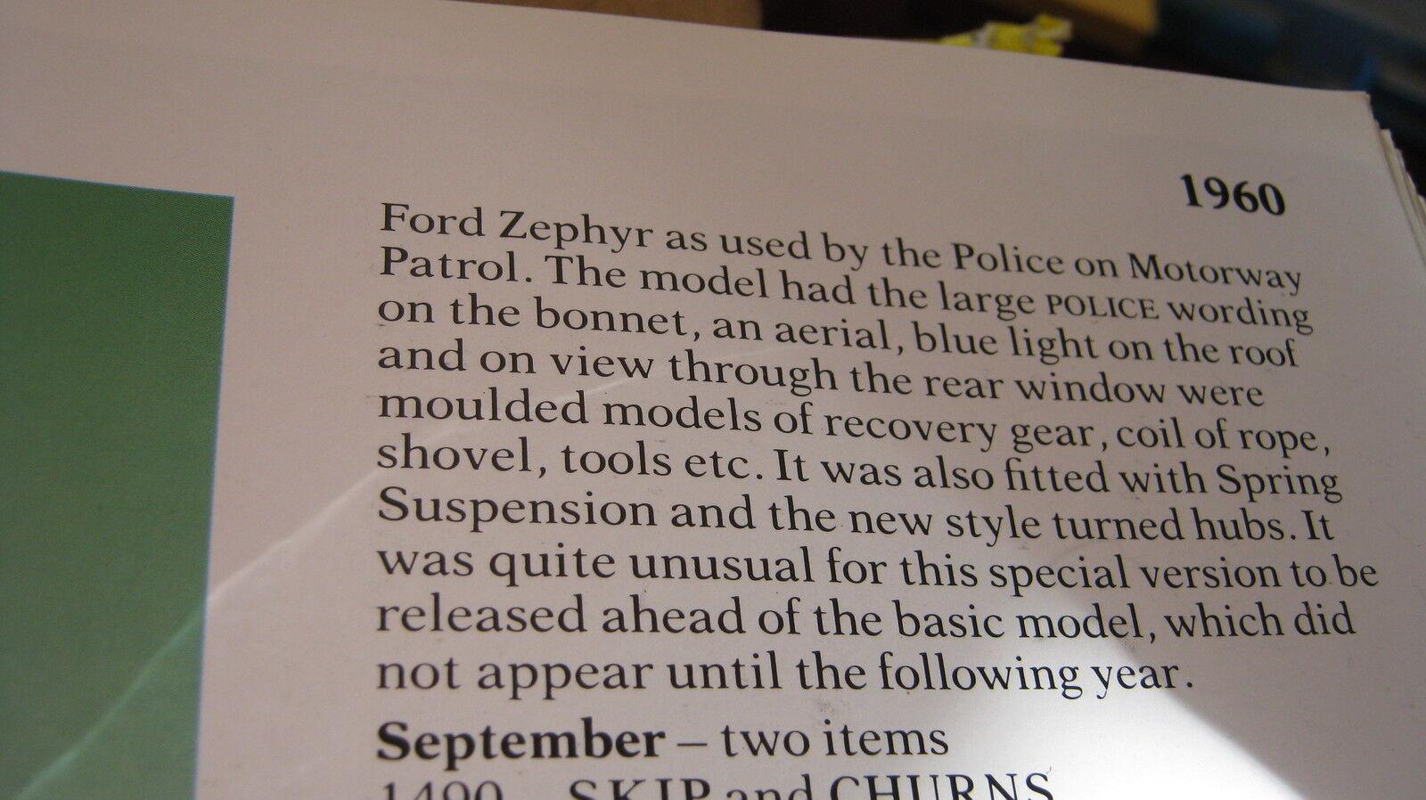 CORGI 419 FORD ZEPHYR POLICE bon original en bonne boîte d'origine