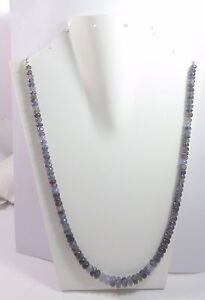 """162Ct 5.5-9mm Natural Iolite Gemstone Rondelle Faceted Beads 20.5"""" NECKLACE S137"""