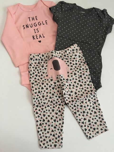 Carters Baby Girl Bodysuit Pants Set Size NB 3 6 9 12 18 24 Months Elephant