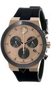 MOVADO Bold Fusion CHRONO Quartz Bronze Dial Silicone Men's Watch 3600711