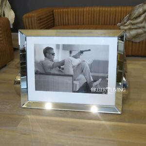 Wandbild-Steve-Mcqueen-Kunstdruck-Spiegelrahmen-Facettenschliff-SW-Druck-1963