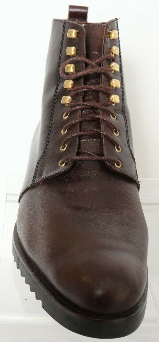 Parlanti Brown Brown Brown Leather Round Toe Lace-Up Casual Ankle Boot Women's US 9.5 c4aaa5