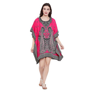 Pink-Paisley-Women-Kimono-Tunic-Kaftan-Long-Sleeve-Casual-Mini-Boho-Beach-Dress