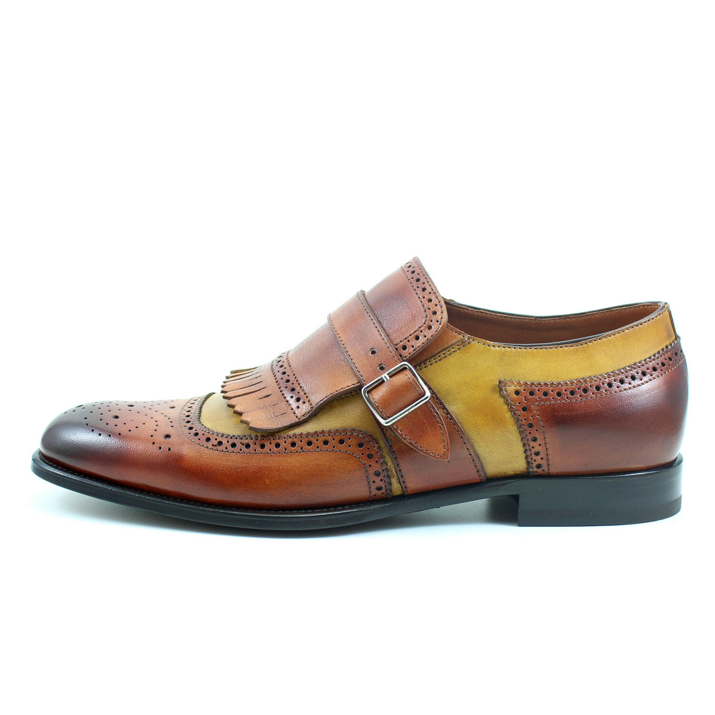 Men's oxford Italian monk strap ORANGE leather shoes handmade Italian oxford GIORGIO REA 7618AR 8b9a60